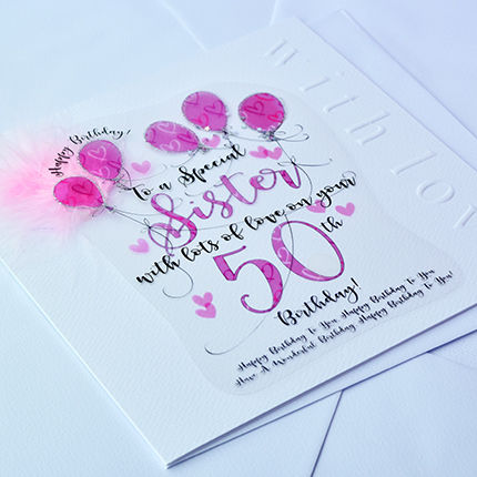 Handmade Sister 50th Birthday Card