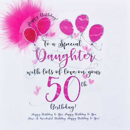 Handmade Daughter 50th Birthday Card Large Luxury Birthday Card