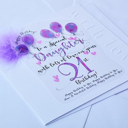 Handmade Daughter 21st Birthday Card