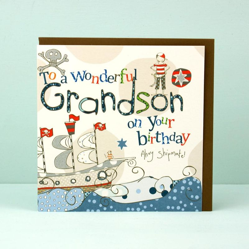 Grandson Pirate Birthday Card Karenza Paperie