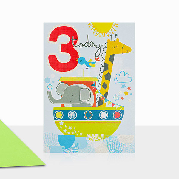 Animals And Boat 3rd Birthday Card