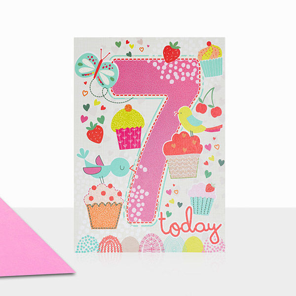 Birds Cupcakes 7th Birthday Card Karenza Paperie