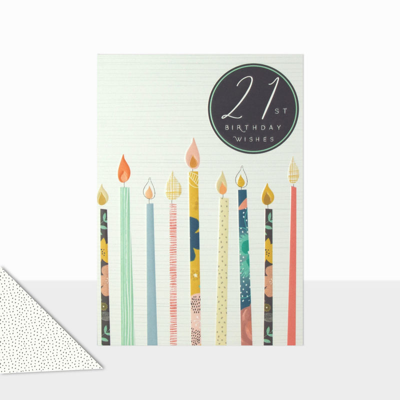 Candles 21st Birthday Wishes Card