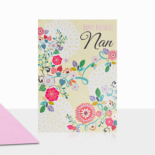 Floral Nan Happy Birthday Card