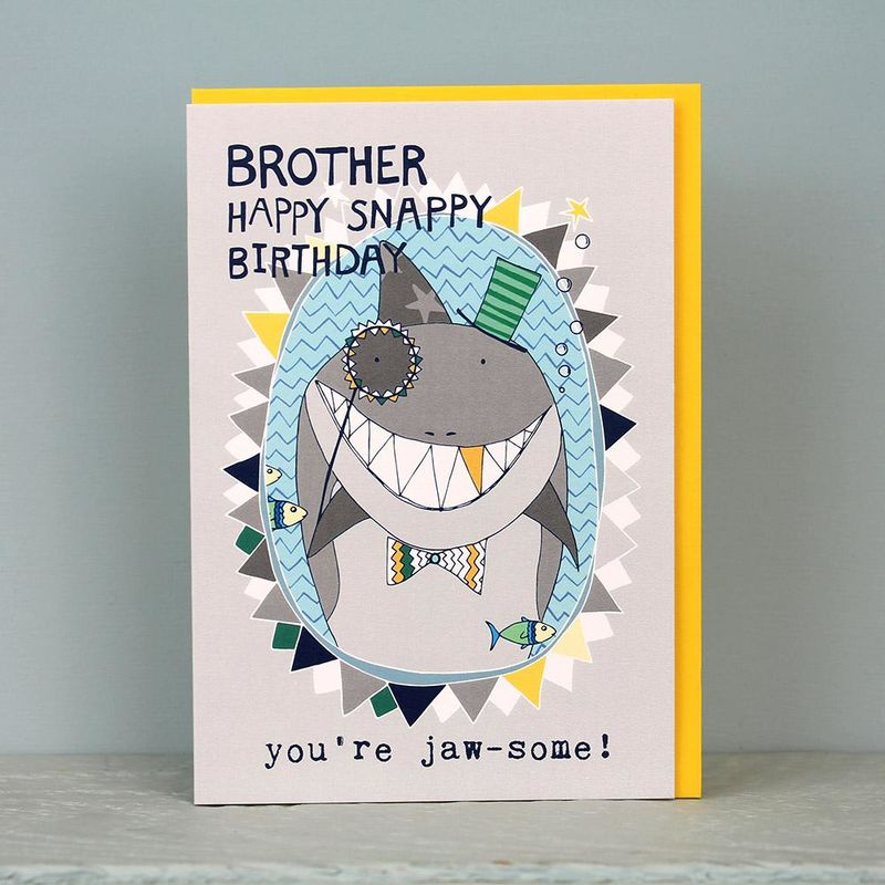Shark Brother Birthday Card Karenza Paperie