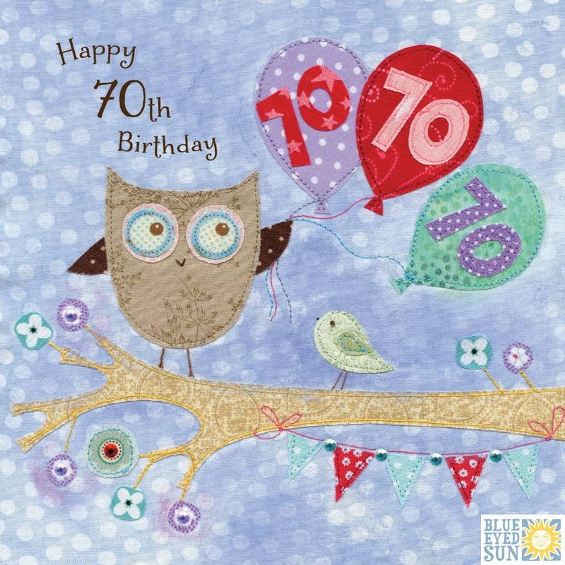 Owl Balloons 70th Birthday Card