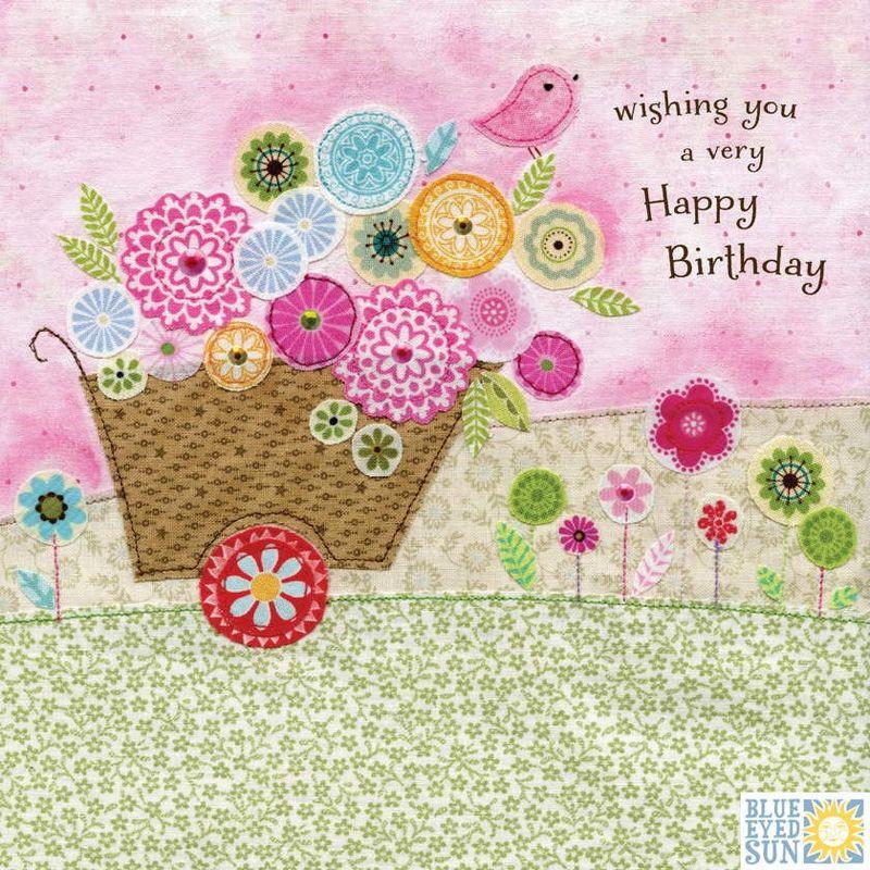 Wheelbarrow Bird Birthday Card