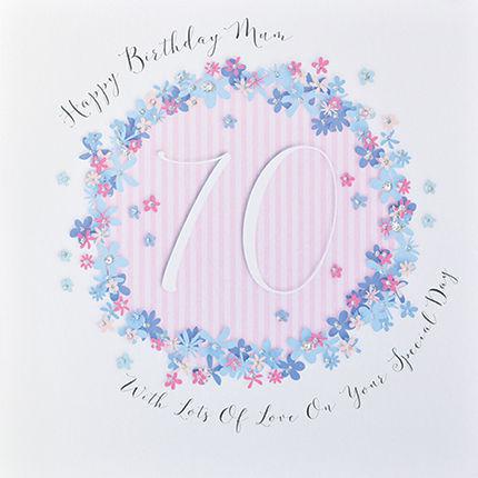 Floral Mum 70th Birthday Card