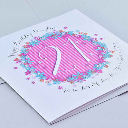 Floral Daughter 21st Birthday Card Large Luxury Birthday Card