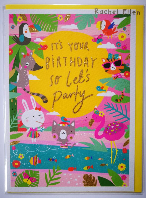 Tropical Oasis Animal Birthday Card Karenza Paperie