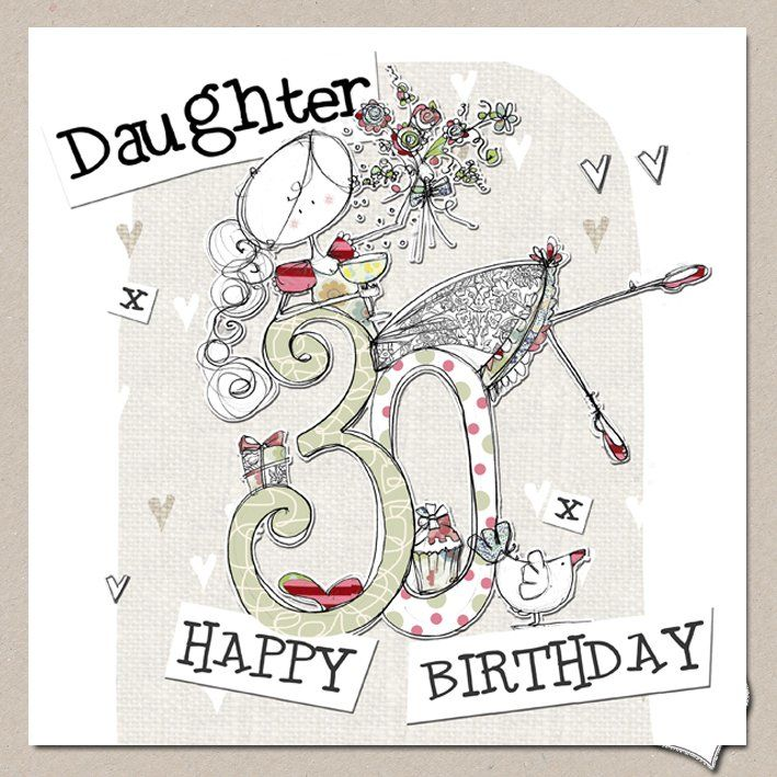Hand Finished Daughter 30th Birthday Card Large Birthday Card