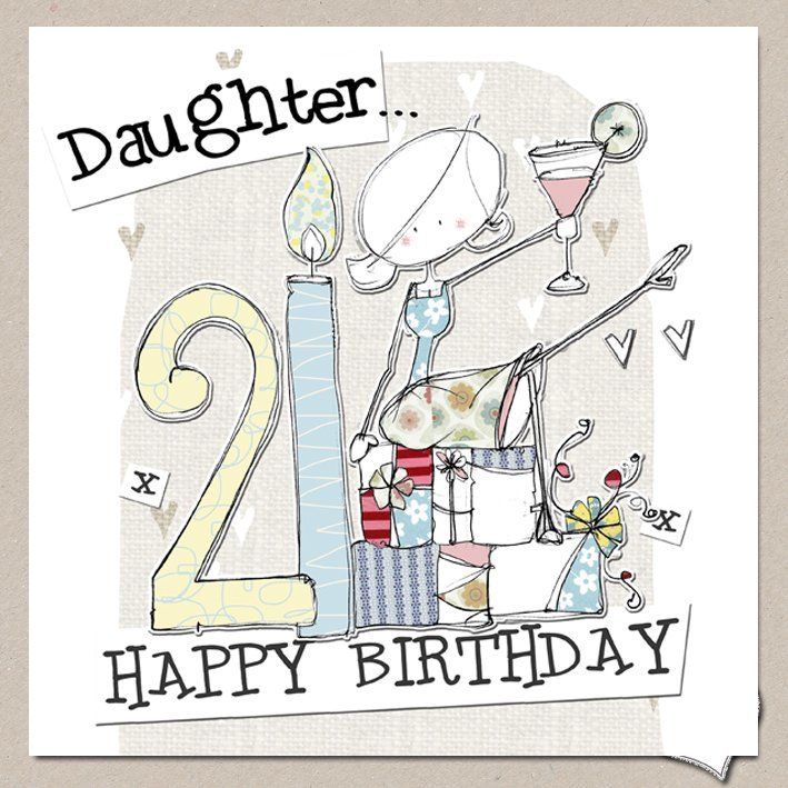 Hand Finished Daughter 21st Birthday Card Large Birthday Card