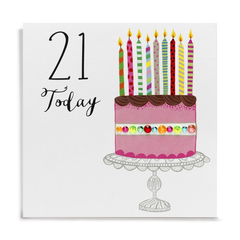 Hand Finished Birthday Cake 21st Birthday Card Karenza Paperie