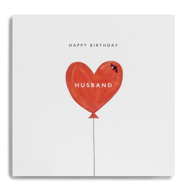 Red Balloon Husband Happy Birthday Card