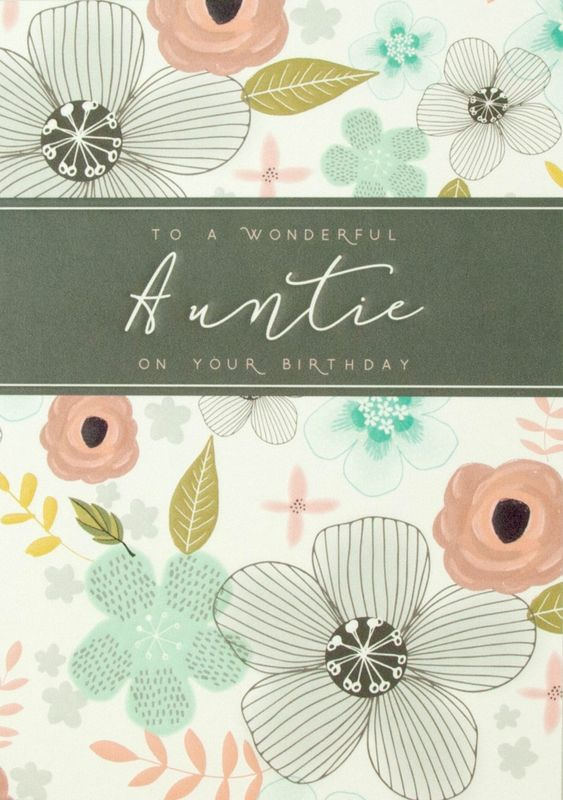 Floral To A Wonderful Auntie Birthday Card Karenza Paperie