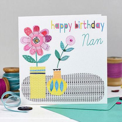Pots Of Flowers Nan Birthday Card