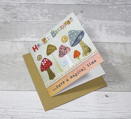 Mushrooms Toadstools Magical Birthday Card Karenza Paperie