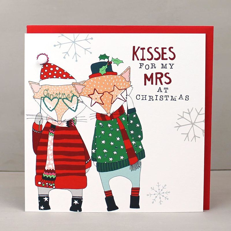 Wife Kisses For My Mrs Christmas Card - Karenza Paperie