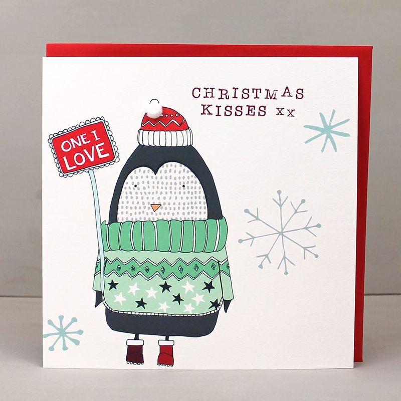 Penguin One I Love Christmas Kisses Christmas Card - Karenza Paperie