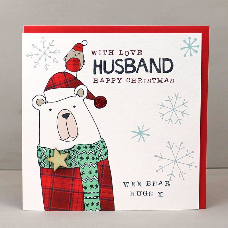 With Love Husband Scottish Christmas Card - Karenza Paperie