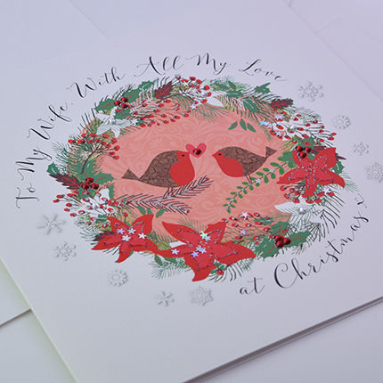 To My Wife With All My Love At Christmas Card Large Luxury Card