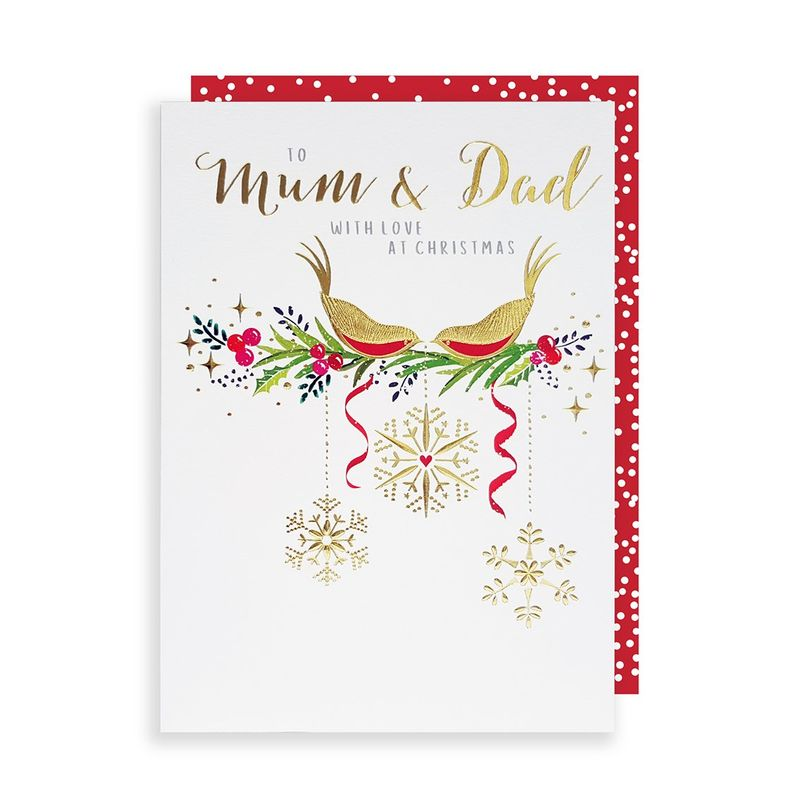 Robins Mum And Dad Christmas Card - Karenza Paperie