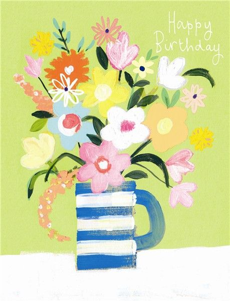 Vase Of Flowers Birthday Card Karenza Paperie