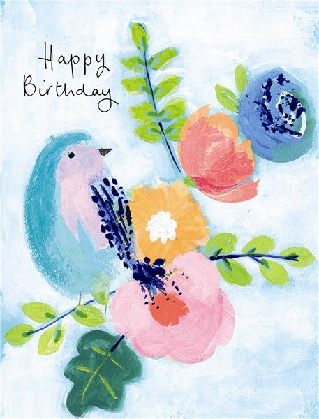 Bird Flowers Happy Birthday Card Karenza Paperie