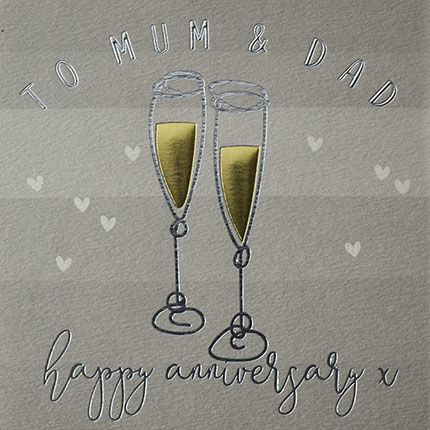 Lovely Special Hand-finished card. Mum /& Dad On your Silver Wedding Anniversary