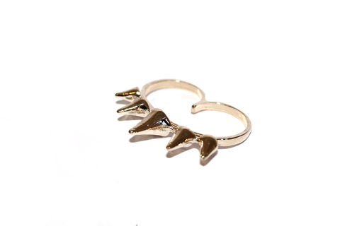 Gold,Double,Spike,Ring