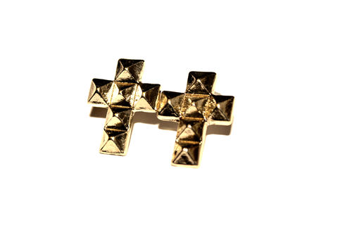 Cross,stud,gold,earrings,pyramid, stud, cross, earrings, gold, buy, bear, and, mojo