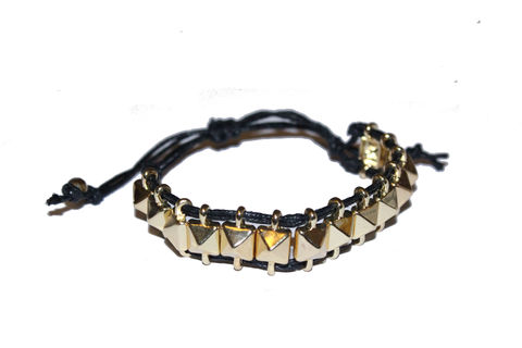 Black,and,Gold,Stud,Friendship,Bracelet,black, cord, friendship, bracelet, gold, studs, beads, buy, bear, and, mojo