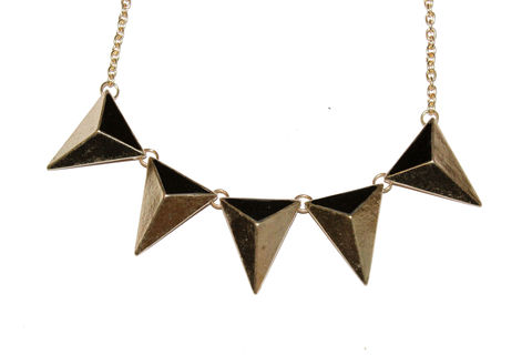 Gold,Triangle,Stud,Necklace,gold, necklace, pyramid, stud, five, buy, bear, and, mojo