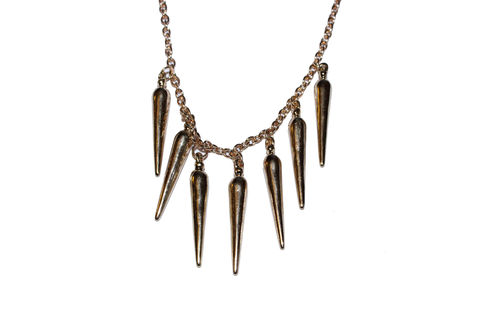 Single,Layer,Spike,Necklace,short, chain, spike, spiked, necklace, gold, cheap, bear, and, mojo, buy