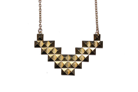 Pyramid,Stud,Necklace,Tetris, Necklace, Gold, Stud, Studded, Bear, and, Mojo, Buy