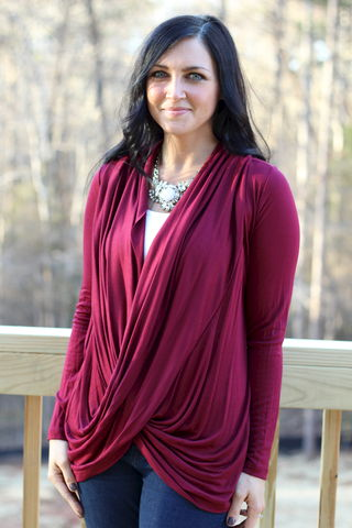Burgundy,Drape,Top