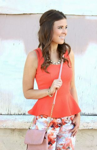 Coral,Peplum,Top