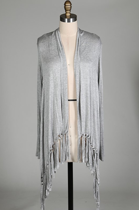 Fringe,Cardigan,(Grey)