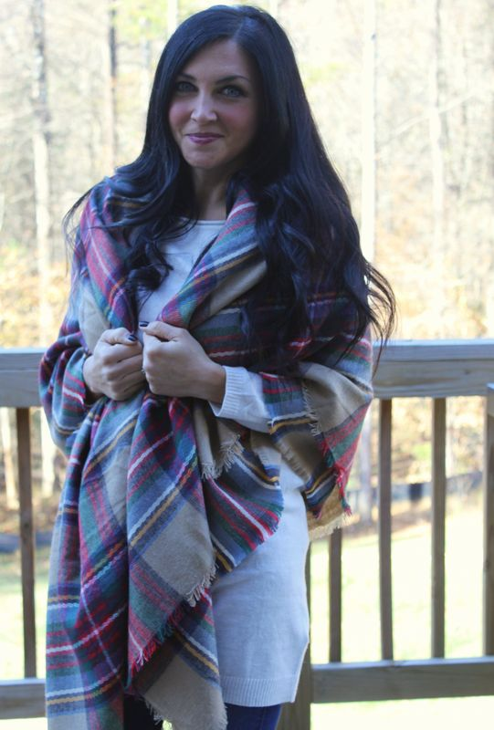 Plaid Blanket Scarf - product images  of