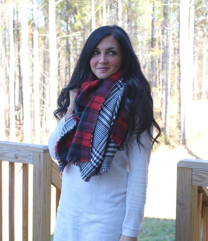 Houndstooth,Plaid,Blanket,Scarf,Houndstooth Plaid Blanket Scarf