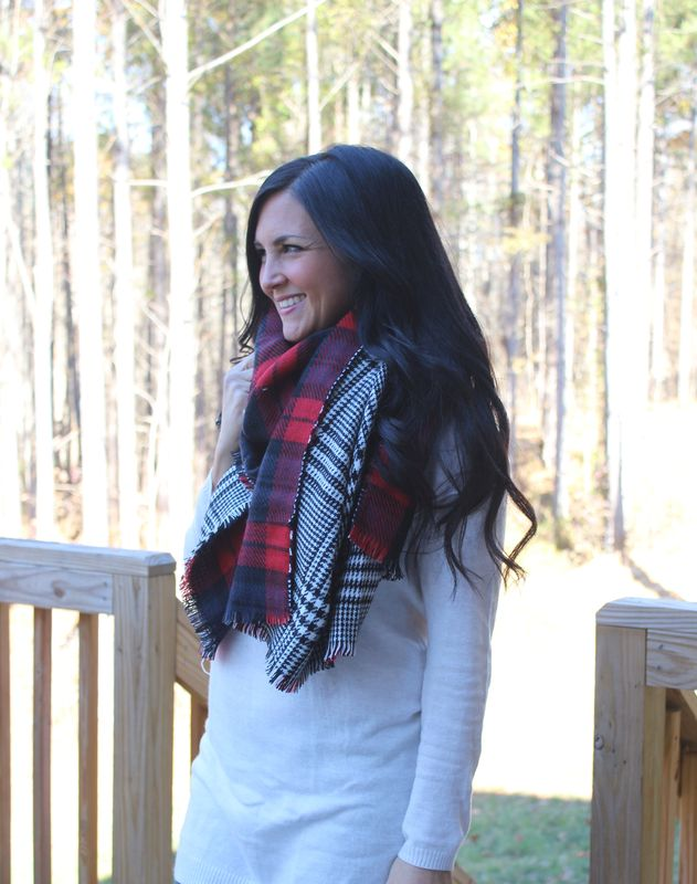 Houndstooth Plaid Blanket Scarf - product images  of