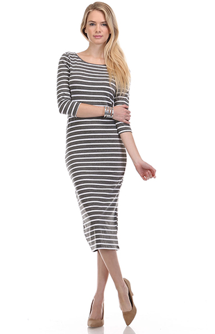Nautical,Midi,Dress,(Grey)