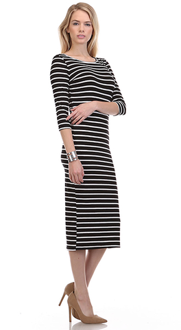Nautical,Midi,Dress,(Black)