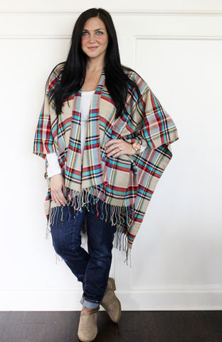 Plaid,Blanket,Poncho,(sold,out),Plaid blanket scarf, poncho