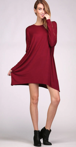 Burgundy,Piko,Dress
