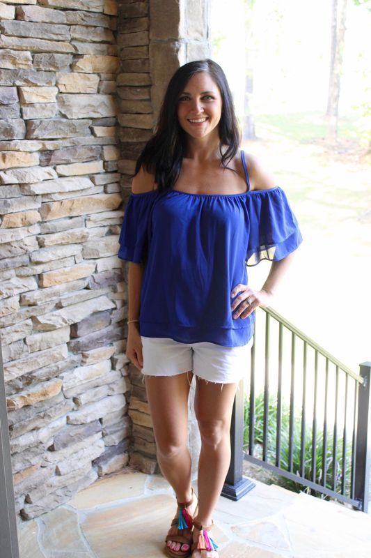 Cold Shoulder Top - Royal - product images  of