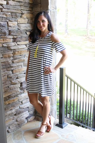 Striped,Cold,Shoulder,Dress