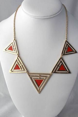Painted,Triangle,Necklace,-,Red