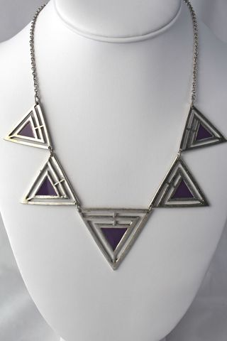 Painted,Triangle,Necklace,-,Purple