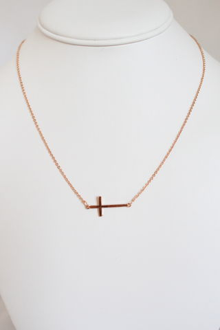 Sideways,Cross,Necklace,-,Rose,Gold